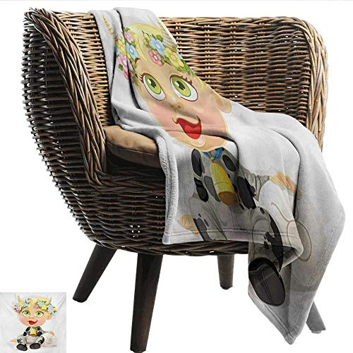 EwaskyOnline Zodiac Taurus Flannel Blanket Happy Baby with