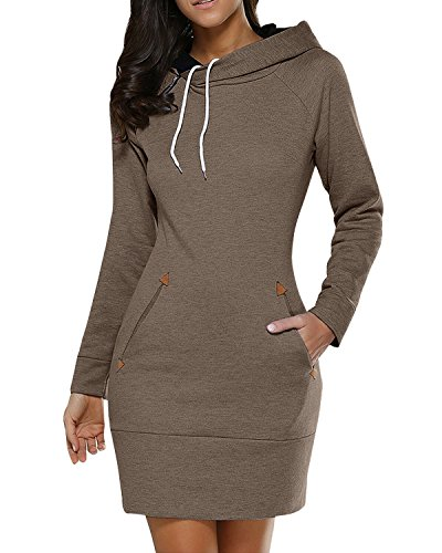 BUIBIU Women's Long Sleeve Cotton Slim Fit Midi