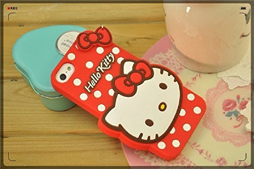 """Bling Sweet Cases 3D Lovely Cartoon Red Hello Kitty Bow Soft Rubber Cute Phone Case Cover For iPhone 6 -size 4.7"""""""