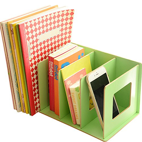 UQueen Creative Wooden DIY Desktop Magazines and Books Storage Box Sorting Bookends Office Kitchen Dish Carrying Shelves (Green)