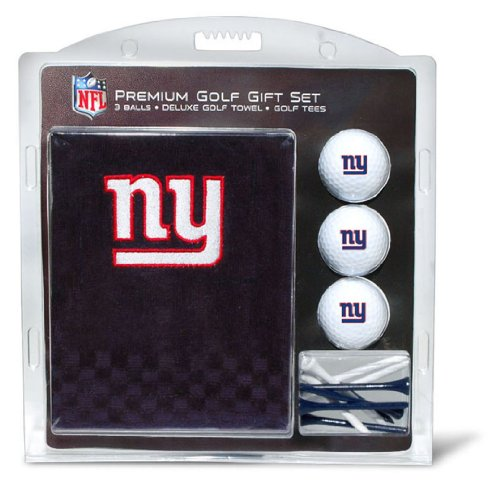 Team Golf NFL New York Giants Gift Set Embroidered Golf Towel, 3 Golf Balls, and 14 Golf Tees 2-3/4
