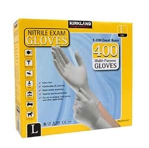 Guantes de examen de nitrilo Kirkland Signature, sin látex, 2 x 200 guantes
