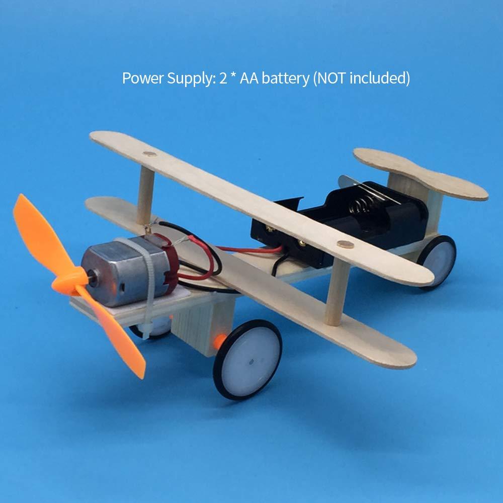 Festnight Aliante elettrico in legno Aliante elettrico Kit fai te Giocattolo per bambini Aereo Kit fai te Elettrico in legno Modello di aeroplano per bambini Modello volante Esperimento assemblato Kit