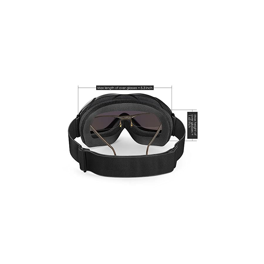OutdoorMaster OTG Ski Goggles Over Glasses Ski/Snowboard Goggles for Men, Women & Youth 100% UV Protection
