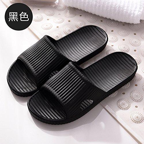 FankouZapatillas de verano femenina light indoor Home baño de espuma anti-deslizamiento suave zapatillas hembra inferior ,41-42, negro