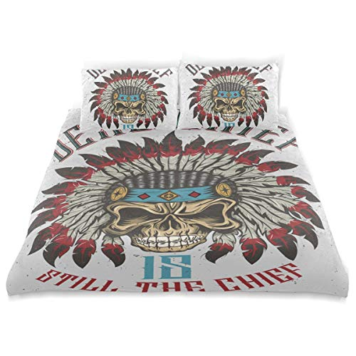 Franzibla Native American Indian Art Prints Kids Bedding Duvet Cover Set,Twin Size 3 Piece Including 1 Duvet Cover and 2 Pillowcases