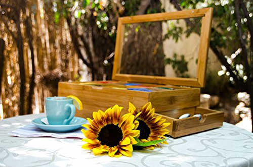 Tea Box 100% Bamboo Tea Box Chest Organizer With Slide Out Drawer, 8 Storage Compartments Clear Shatterproof Hinged Lid By Sugarman Creations by Sugarman Creations (Image #6)