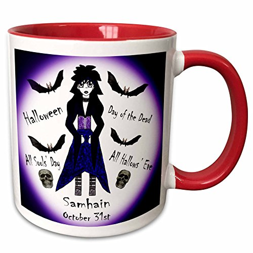 3dRose WhiteOaks Photography and Artwork - Anime Designs - Little Anime Character with different Halloween names around her - 15oz Two-Tone Red Mug -