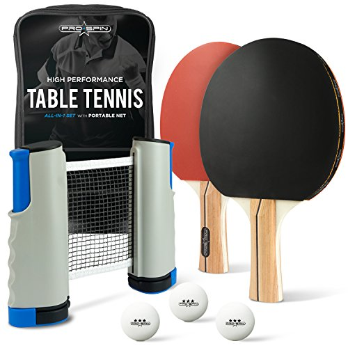 (ALL-IN-ONE Ping Pong Paddle Set - Includes PLAY ANYWHERE Ping Pong Net for ANY Table, 2 Paddles/Rackets, 3 Pro Balls, Premium Storage Case | Portable Table Tennis Set with Retractable Table Tennis Net )