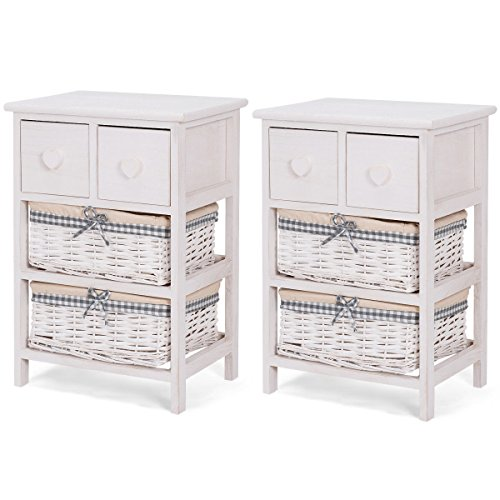 2 PCS Nightstand Bedside End Table Organizer 2 Wicker Baskets Cabinet With Ebook (6 Drawer Unit Wicker Storage)