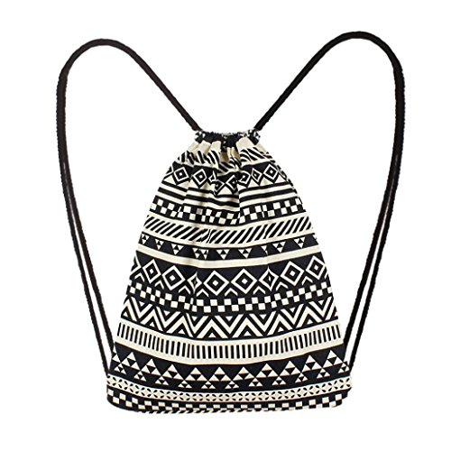 Chartsea Women Grils Solid Elephant Printing High Capacity Bucket Bag Backpack Shoulder Bag (Black) free shipping