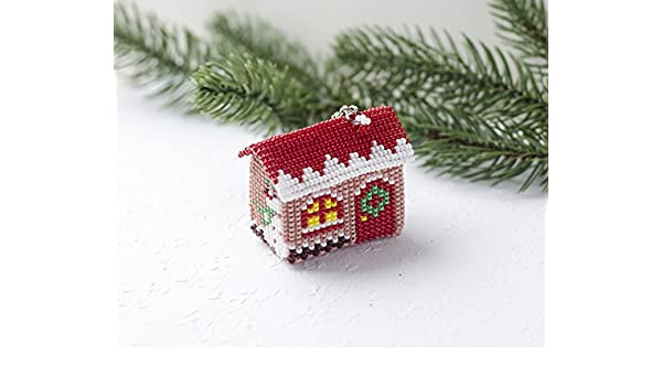 Amazon Com Handmade Christmas House Keychain Xmas Ornament Women S