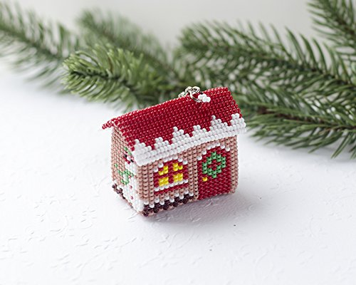 Amazon Com Handmade Christmas House Keychain Xmas Ornament Women S Accessory Christmas Handbag Charm Unique Gift Idea For Wife Hand Made Charm Keyring Husband Gift Housewarming Secret Santa Gift Beaded Accessory Handmade