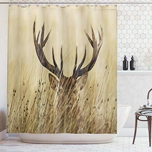 Ambesonne Antler Decor Shower Curtain by, Whitetail Deer Fawn in Wilderness Stag Countryside Rural Hunting Theme, Fabric Bathroom Decor Set with Hooks, 70 Inches, Brown Sand Brown ()