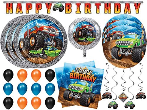 Monster Truck Rally Demolition Derby Birthday Party Supplies Set Includes Plates Napkins Danglers Banner Foil Balloon and Latex Balloons for 24 (102 pcs)