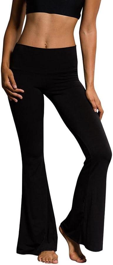 Amazon Com Pantalones De Yoga Para Mujer Cintura Alta Elasticos Con Campana Inferior Clothing