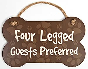 """Paw Print Bone Shaped Wood Sign With Rope Handle Four Legged Guests Preferred 9.5 x 5.75"""""""