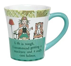 Santa Barbara Design Studio Curly Girl Ceramic Mug with Striped Gift Box, Life Is Tough