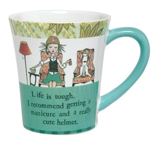 Santa Barbara Design Studio Curly Girl Ceramic Mug with Striped Gift Box, Life Is (Santa Barbara Studio)