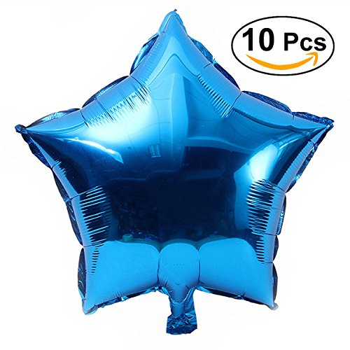 TOYMYTOY Five-Point Star Foil Balloons for Party Decoration,Blue,18