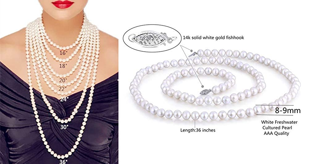 AAA Quality 36 Opera Length A-PWS026PL36 MABELLA 14K Solid White//Yellow Gold 8-9mm Round White Freshwater Cultured Pearl Necklace