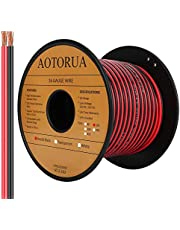 AOTORUA 100FT 16/2 Gauge Red Black Cable Hookup Electrical Wire, 16AWG 2 Conductor 2 Color Flexible Parallel Zip Wire LED Strips Extension Cord 12V/24V DC Cable for LED Ribbon Lamp Tape Lighting