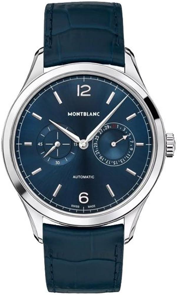 Montblanc Heritage Chronométrie Twincounter Date - Reloj (Reloj de pulsera, Masculino, Acero inoxidable, Acero inoxidable, Cuero, Azul)