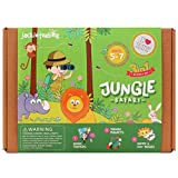jackinthebox Art and Craft Felt Kit for Kids - Jungle Safari DIY Fun Crafts for Children Ages 5-7, for Girls and Boys Learning Stem Toys by (3-In-1)