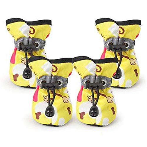 Jim-Hugh Pet Waterproof Reflective Rain Shoes Anti-Slip Fashion Monkey Print Boots for Small Dogs Cats Puppy