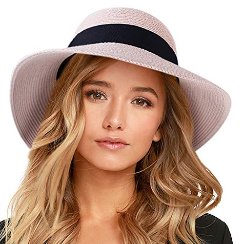 "FURTALK Womens Beach Sun Straw Hat UV UPF50 Travel Foldable Brim Summer UV Hat (Large Size (22.4""-23""), New-Pink)"