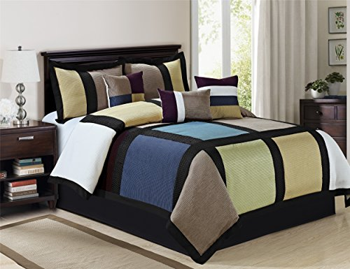 Holiday Season Special Offers - 7 Piece Taupe Sage Blue White Comforter Set Queen king Size - Handmade Decent Fashionable Patchwork Design Bed In A Bag (Taupe-MAXON, (Holiday Sage)