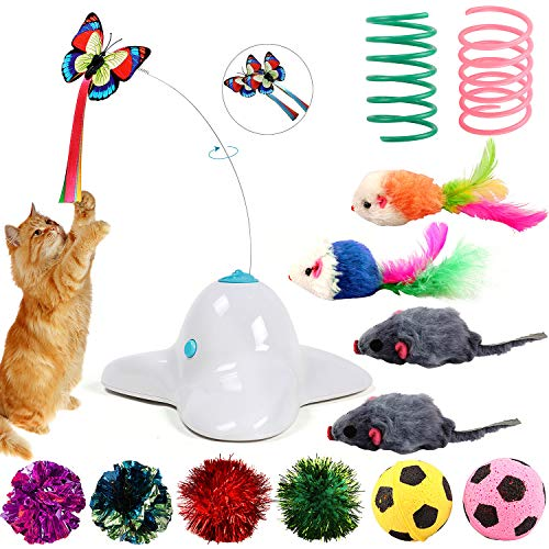 Bascolor Butterfly Cat Toys Electric Rotating Flashing Butterfly Cat Toy with Mouse Spring Football Accessories Interactive Funny Cat Teaser Toy