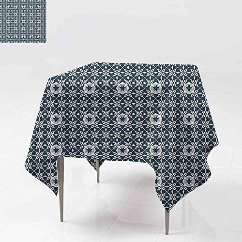 AndyTours Washable Tablecloth,Traditional,Europe Azulejo Portuguese Mosaic Tiles Folkloric Cultural Heritage Spanish,High-end Durable Creative Home,70x70 Inch Dark Blue White