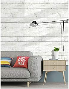 HaokHome 5030 Shiplap Peel and Stick Wood Wallpaper Off…