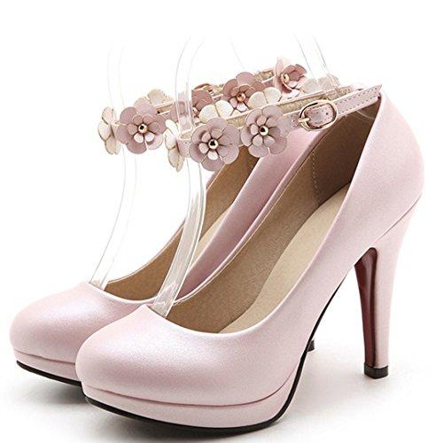 Cinghia Pattini Caviglia Tacco Rosa Pompe Womendress Taoffen TqZPPf