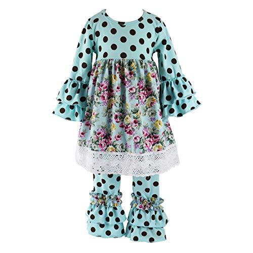 Toddler Boutique Clothing (Wennikids Children Kids 2 Pieces Long Sleeve Ruffle Dress & Pants Outfits Medium)
