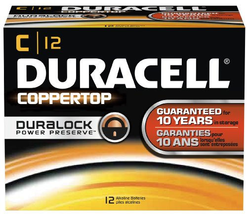 Duracell MN1400 CopperTop Alkaline-Manganese Dioxide Battery, C Size, 1.5V (Case of 72) by Duracell