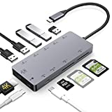 USB C Hub,GIKERSY 11 in 1 Type C Adapter with PD Charging Port,4K USB C to HDMI,2 USB3.0/3 USB2.0 Ports,MicroSD/SDXC Card Reader Compatible MacBook Air 2018/MacBook Pro,Nintendo Switch and More (Grey)