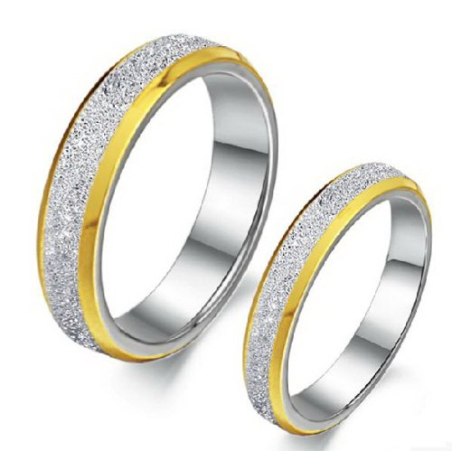 OPK Jewelry Stainless Steel Rings Silver Gold Frosted Polish His and Her Wedding Rings Engagement Band,men 9