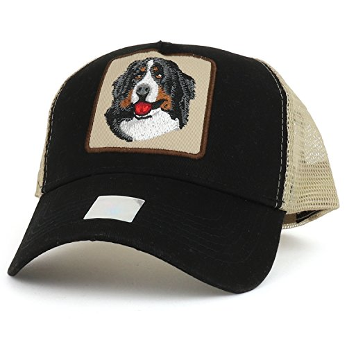 Trendy Apparel Shop Bernese Mountain Dog Embroidered Mesh Back Cotton Trucker Cap - Black Khaki