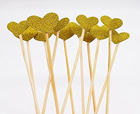 Cupcake Toppers 36pcs/set, KOOTIPS Twinkle DIY Glitter Mini Birthday Cake Snack Decorations Picks Suppliers Party Accessories for Wedding Baby Shower (36pcs Gold Heart Cake - Decorative Toothpicks