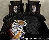 Sandyshow 3pcs Tiger Microfiber Duvet Cover Sets 3D Tiger Bedding Full/Queen Size For boys And Girls Wrinkle, Fade, Stain Resistant,Hypoallergenic (Full/Queen, Tiger 2)
