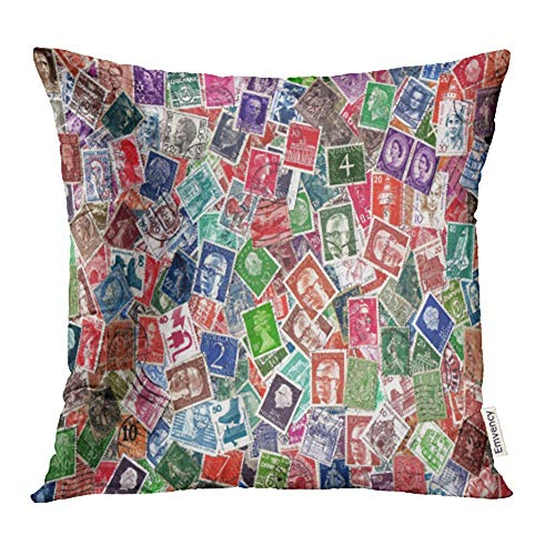- Emvency Decorative Throw Pillow Case Cushion Cover Europe Circa 1950 2000 of Definitive European Postage Stamps Including from Germany 16x16 inch Cases Square Pillowcases Covers Two Sides Print