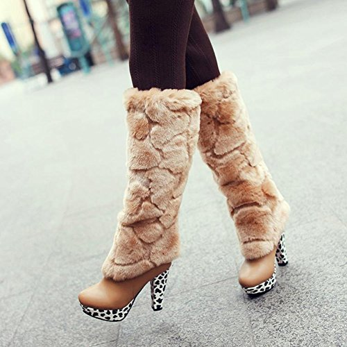 High Women's Fall Rounded Beige Boot Use Platform Winter Overknee Heel Ankle Multi Fur Toe Stiletto Faux for Fwx6SrnF