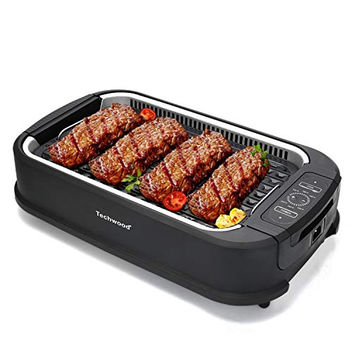 Techwood Smokeless Grill Electric Non-stick BBQ Plate for Searing Grilling Indoor/ Outdoor, Compact & Portable Electric Grill with Drip Tray & Advanced Turbo Smoke Extractor Technology,Adjustable Temperature Control