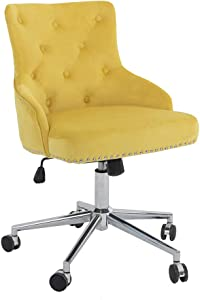 DMF Furniture Home Office Chair with High Back, Modern Design Velvet Desk Task Chair with Arms in Study Bedroom (Yellow)