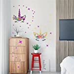 Easma Happy Unicorn Decal, Unicorn Wall Decal, Unicorn Floral Decal Fairytale Wall Decal Girls Bedroom Home Decor