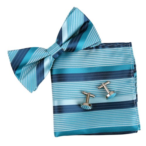 Epoint BT2182 Blue Bowtie Stripes romance Fabric Gifts Idea For Mens Silk Pre-tied Bow Tie Cufflink Hanky For Friend ()