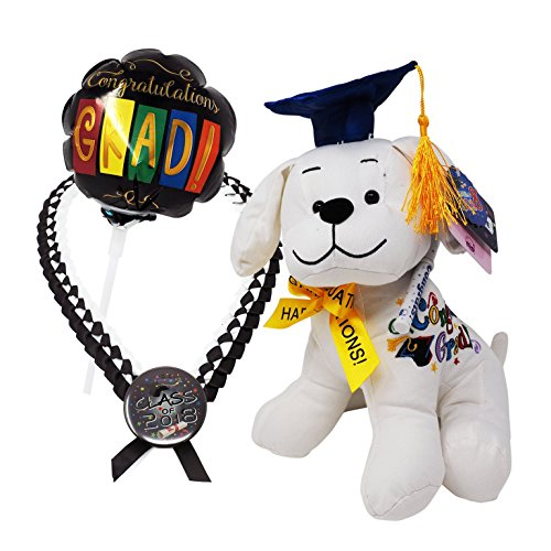 Graduation Stuffed Animal Bundle Set: Adorable Plush Dog Toy w/Pen + Balloon w/Congratulating Message + Graduation Necklace in Deluxe Plastic Box| Ultimate Autograph Animal Graduation … -