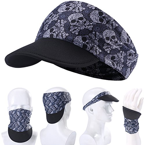 (AXBXCX Soft Brim Sun Visor Cap Skull Yoga Headband Women Headwrap with UV Sun Protective for Fishing Motorcycling Hunting Airsoftball Running Hiking 01)